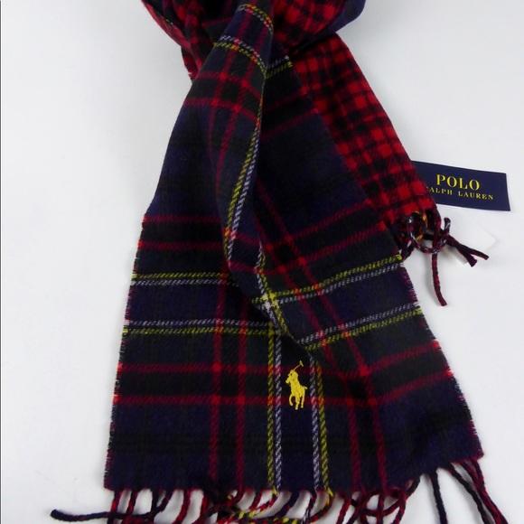 Polo Ralph Lauren Reversible Plaid Scarf Wool NWT